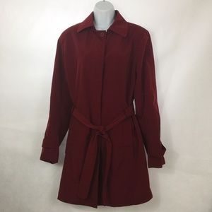 London Fog Burgundy Trench Coat Women Sz L Belted